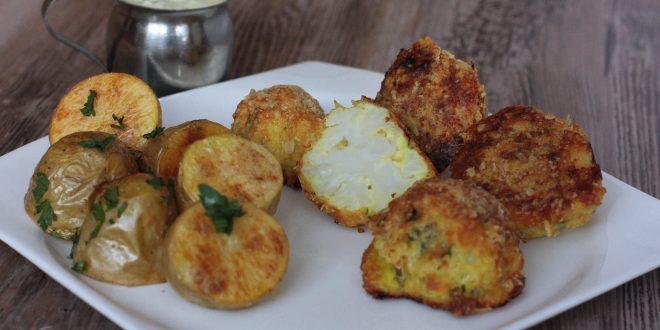 Pečený karfiol na indický spôsob a pečené zemiaky