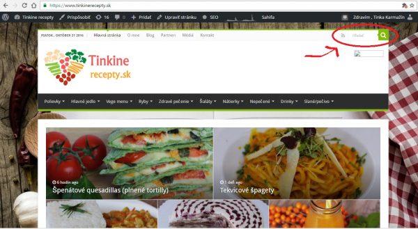 Na mojej webovej stránke, ktorú mám naozaj dobre prepracovanú (ak by ste chceli kontakt na neskutočne šikovného webdizajnéra, píšte) viete nájsť a vyhľadať konkrétnu surovinu, podľa ktorej chcete variť, ale aj konkrétny recept. Stačí ho zadať v 1. páde napr. brokolica, tekvica a vyhodí vám všetky recepty, ktoré túto surovinu obsahujú. Taktiež môžete vyhľadávať aj konkrétne recepty, skúšajte vždy viacero variacií, ak vám nevyhodí ten správny. Toto všetko sa dá hladať na počítači a takisto aj cez mobil (viď obrázok č. 1 a č. 2), prakticky všade kde ste.