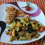 Grilované kuracie prsia s restovanou zeleninkou
